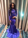 Royal Blue Sheer Illusion Open Back Long Sleeve Mermaid Prom Dress