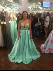 Light Blue Embellished Bodice Floor Length Ball Gown Formal Gown