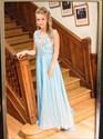 Light Blue V-Neck Lace Top Open Back Chiffon Long Prom Dress
