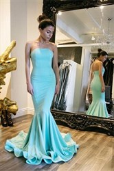 Light Blue Strapless Sleeveless Mermaid Prom Dress With Train