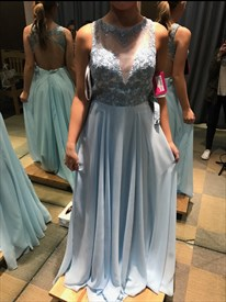 Light Blue Lace Embellished Top Chiffon Bottom Backless Prom Dress