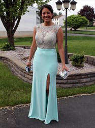 Light Blue Sheer Illusion Bodice Prom Dress With Side Cutouts