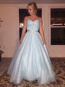 Light Blue Strapless Beaded Floor Length Ball Gown Prom Dresses