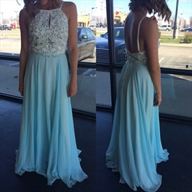 Light Blue Halter Beaded Bodice Open Back Chiffon Prom Dress