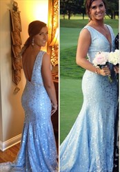 Light Blue V Neck Open Back Lace Mermaid Floor Length Prom Dress