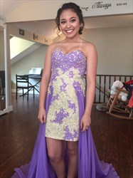 Lilac Strapless Lace Short Prom Dress With Long Chiffon Overlay