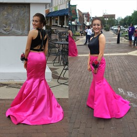 Two Piece Sleeveless Floor Length Mermaid Prom Dress