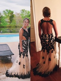 Black Lace Embellished Open Back Tulle Floor Length Prom Dress