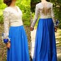 Two Tone Long Sleeve Lace Bodice Chiffon Floor Length Formal Dress