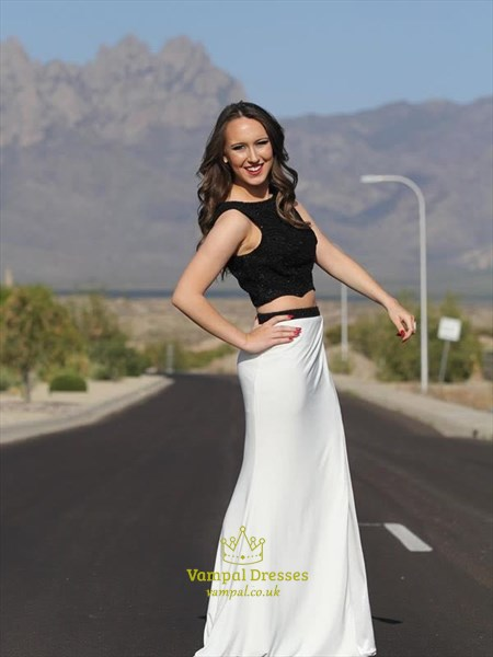 Two Tone Two Piece Floor Length Prom Dress With Cutout Sides