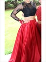 Two Piece Long Sleeve Sheer Lace Bodice Ball Gown Formal Dress