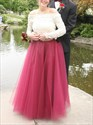 Two Tone Off The Shoulder Lace Top Long Sleeve Ball Gown Prom Dress