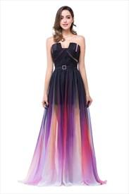 Multicolour Strapless Sweetheart Floor Length Chiffon Prom Dress