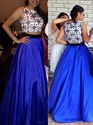 Royal Blue Lace Bodice Sleeveless Long Ball Gown Formal Dress