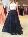Lace Top Two Piece Floor Length Ball Gown Formal Dress