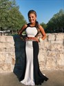 Black And White Two Piece Open Back Beaded Long Prom Dress