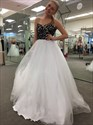 White Strapless Lace Embellished Top Tulle Ball Gown Prom Dresses