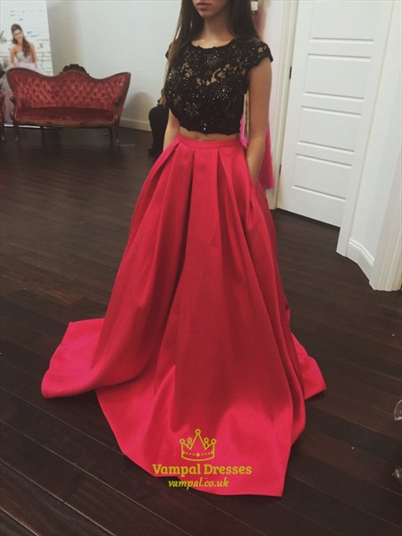 Lace Top Cap Sleeve Open Back Two Piece Prom Dress With Pockets