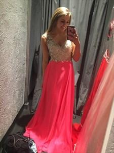 Orange V Neck Sequin Beaded Embellished Open Back Chiffon Prom Dress