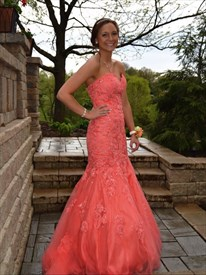 Coral Strapless Mermaid Lace Embellished Floor Length Tulle Prom Dress