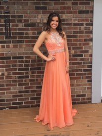 Orange Halter Beaded Backless Chiffon Long Prom Dress