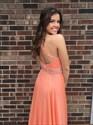 Orange Halter Beaded Backless Chiffon Long Prom Dress