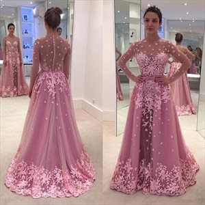 Pink Sheer Long Sleeve Lace Applique Ball Gown Long Prom Dress