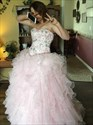 Blush Pink Beaded Bodice Strapless Quinceanera Ball Gown Prom Dress