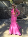 Hot Pink Lace Top Two Piece Long Sleeve Mermaid Prom Dress