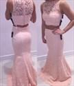 Blush Pink Two Piece Sheer Lace Mermaid Floor Length Formal Dress