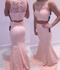 Blush Pink Two Piece Sheer Lace Mermaid Floor Length Formal Dress