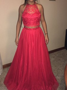 Red Two Piece Halter Neck Illusion Lace Top Ball Gown Formal Dress