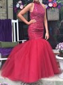 Red High Neck Beaded Bodice Open Back Long Mermaid Prom Dress