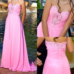 Pink Strapless Beaded Empire Waist Bridesmaid Dress With Keyhole