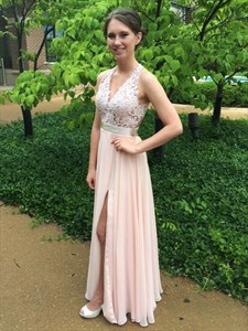 Blush Pink V Neck Lace Top Open Back Prom Dress With Side Cutouts