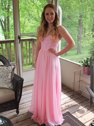 Pink Strapless Beaded Bodice Sweetheart Chiffon Bridesmaid Dress