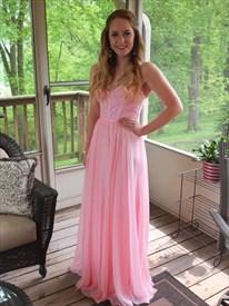 Pink Strapless Beaded Bodice Sweetheart Chiffon Bridesmaid Dress