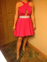 Hot Pink Embellished Beaded Waist Cocktail Dress With Keyhole Front
