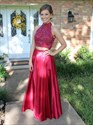 Red Two Piece High Neck Beaded Bodice Open Back Prom Dress