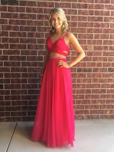 Red Beaded Two Piece Backless A Line Chiffon Long Prom Dress