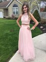 Blush Pink High Neck Lace Top Two Piece Open Back Long Prom Dress
