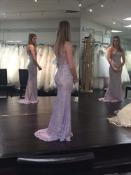 Lilac Sleeveless Lace Sheath Long Prom Dress With Keyhole Front