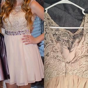 Blush Pink Lace Top Beaded Chiffon Bottom Short Bridesmaid Dress