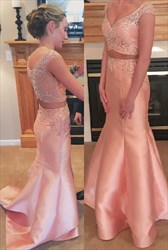 Light Pink Two Piece Mermaid Embellished Bodice Long Prom Dress