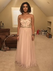 Light Pink Strapless Beaded Top Chiffon Long Bridesmaid Dress