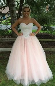 Light Pink Strapless Beaded Bodice Tulle Ball Gown Prom Dress