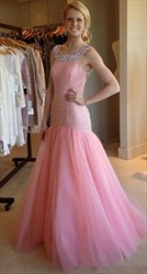 Pink Embellished Beaded Open Back Floor Length Prom Dress