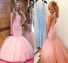 Pink Beaded Embellished Mermaid Floor Length Tulle Formal Dresses