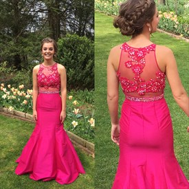 Hot Pink Sheer Illusion Lace Bodice Long Mermaid Prom Dress