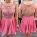 Pink Short Sheer Beaded Bodice Open Back Homecoming Dress